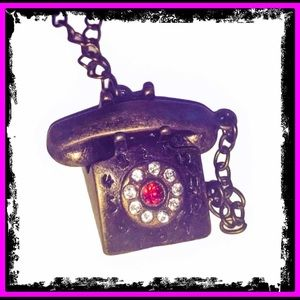 🆕 Vintage Style Bronze Crystal Telephone Necklace